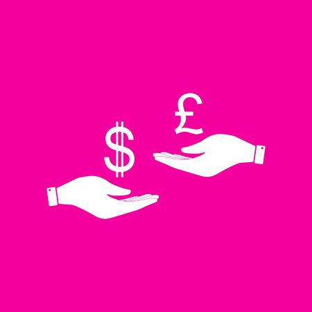 Currency exchange from hand to hand. Dollar and Pound. White icon at magenta background.