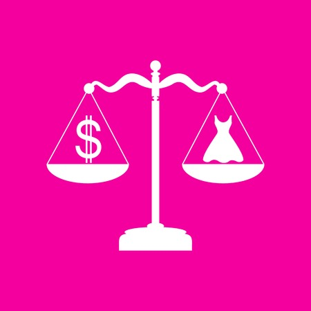 magenta dress: Dress and dollar symbol on scales. White icon at magenta background. Illustration