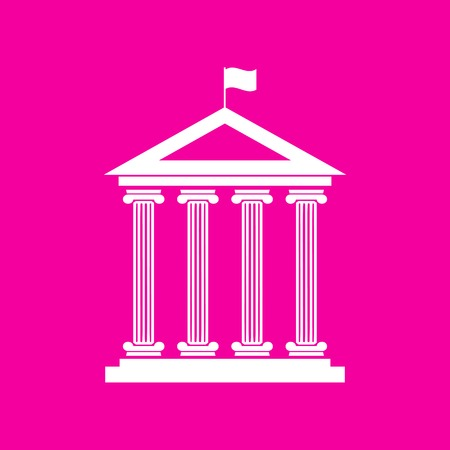Historical building with flag. White icon at magenta background. Illustration