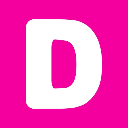 sans: Letter D sign design template element. White icon at magenta background.