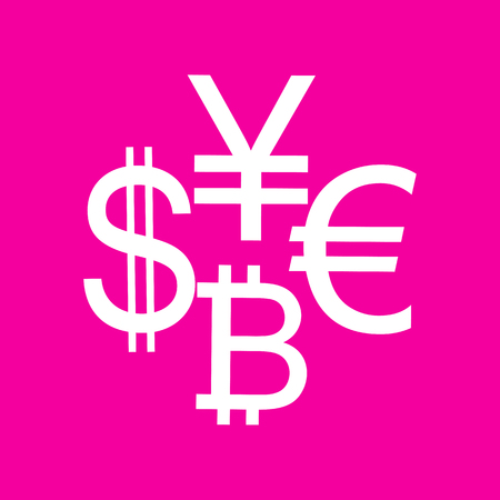 Currency sign collection dollar, euro, bitcoin, yen. White icon at magenta background.