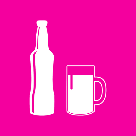 enjoyment: Beer bottle sign. White icon at magenta background.