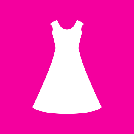 magenta dress: beautiful long dress sign White icon at magenta background.