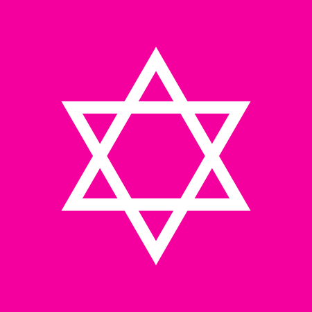 Shield Magen David Star. Symbol of Israel. White icon at magenta background. Illustration