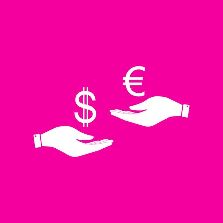 Currency exchange from hand to hand. Dollar adn Euro. White icon at magenta background.