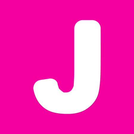 sans: Letter J sign design template element. White icon at magenta background.