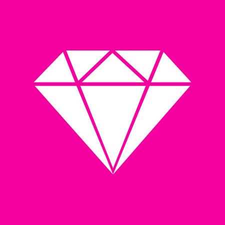 spoil: Diamond sign illustration. White icon at magenta background.