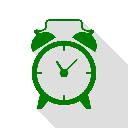 Alarm clock sign. Green icon with flat style shadow path.