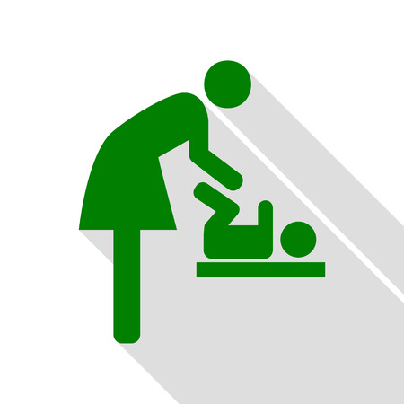 Symbol for women and baby, baby changing. Green icon with flat style shadow path. Illustration
