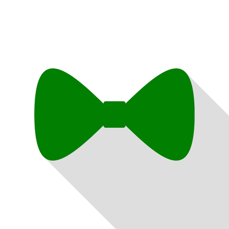 Bow Tie icon. Green icon with flat style shadow path.