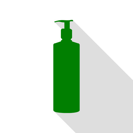 intimate: Gel, Foam Or Liquid Soap. Dispenser Pump Plastic Bottle silhouette. Green icon with flat style shadow path. Illustration