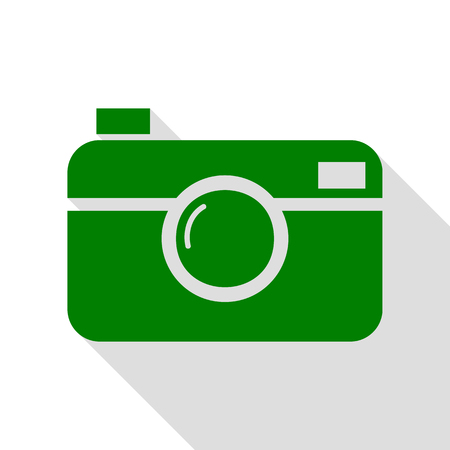 Digital photo camera sign. Green icon with flat style shadow path.