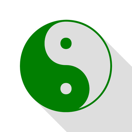Ying yang symbol of harmony and balance. Green icon with flat style shadow path. Illustration