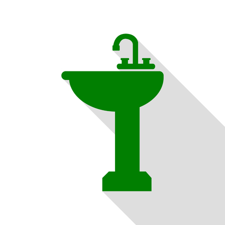 Bathroom sink sign. Green icon with flat style shadow path.