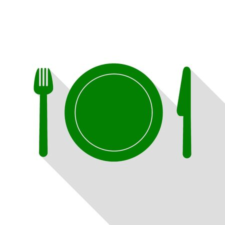 Fork, plate and knife. Green icon with flat style shadow path.