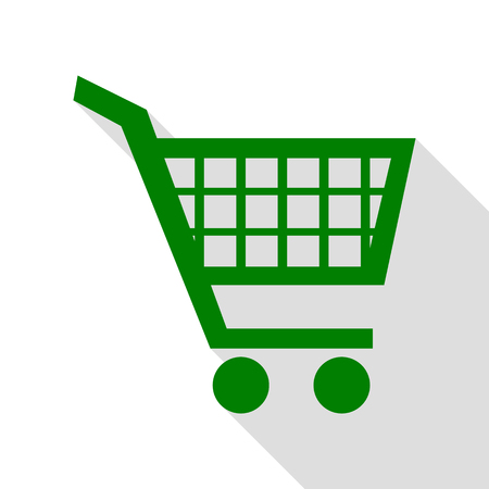 Shopping cart sign. Green icon with flat style shadow path.