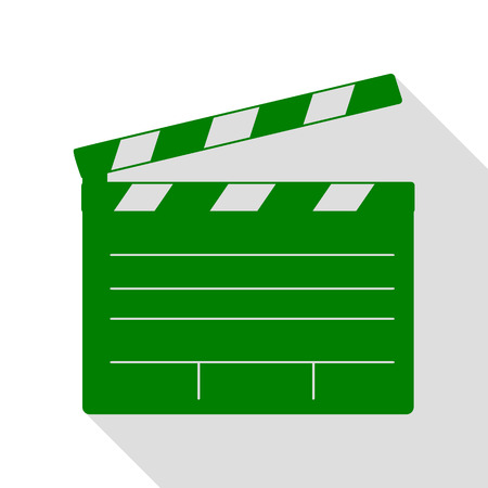 flick: Film clap board cinema sign. Green icon with flat style shadow path. Illustration