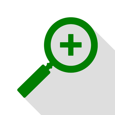 review site: Zoom sign illustration. Green icon with flat style shadow path. Illustration