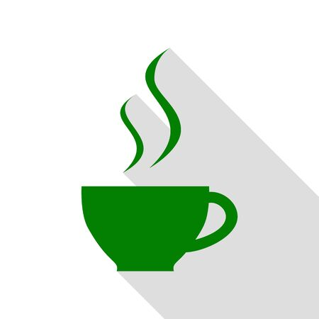 Cup of coffee sign. Green icon with flat style shadow path.