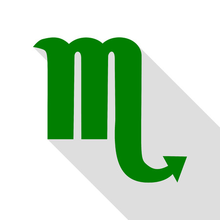 Scorpio sign illustration. Green icon with flat style shadow path.