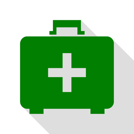 firstaid: Medical First aid box sign. Green icon with flat style shadow path. Illustration