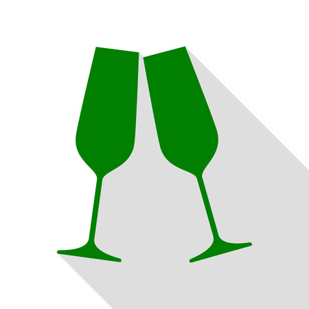 Sparkling champagne glasses. Green icon with flat style shadow path.