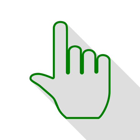 depress: Hand sign illustration. Green icon with flat style shadow path.