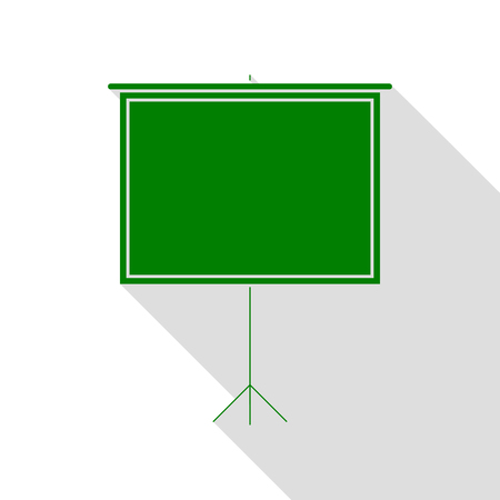 flat screen: Blank Projection screen. Green icon with flat style shadow path. Illustration