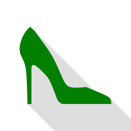Woman shoe sign. Green icon with flat style shadow path.