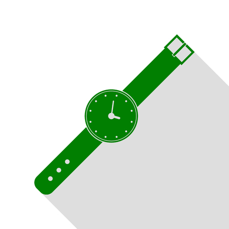 Watch sign illustration. Green icon with flat style shadow path.