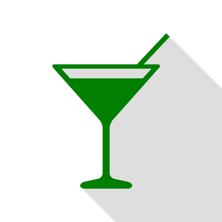 Cocktail sign illustration. Green icon with flat style shadow path. Illustration