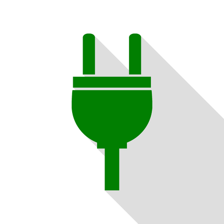ac: Socket sign illustration. Green icon with flat style shadow path.