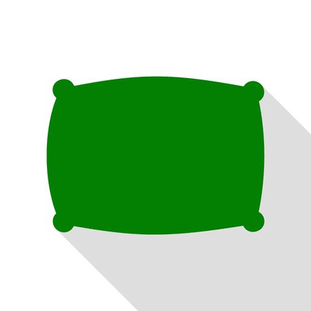 spongy: Pillow sign illustration. Green icon with flat style shadow path. Illustration
