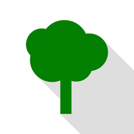 Tree sign illustration. Green icon with flat style shadow path. Vector Illustration