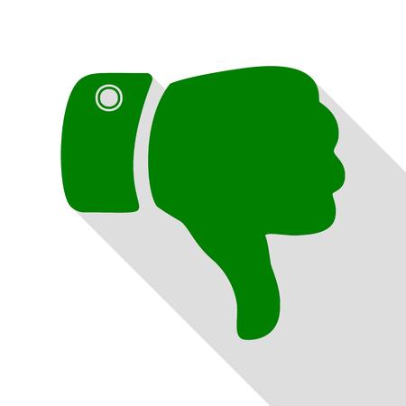 Ilustración de signo de mano. Icono verde con la ruta de sombra de estilo plano.