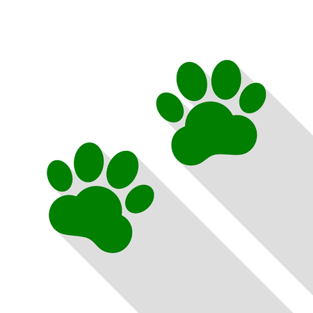 Animal Tracks sign. Green icon with flat style shadow path.