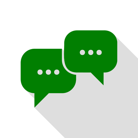html5: Speech bubbles sign. Green icon with flat style shadow path.