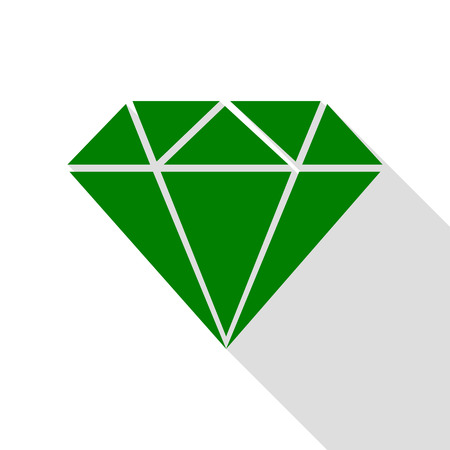 Diamond sign illustration. Green icon with flat style shadow path.