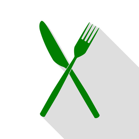 Fork and Knife sign. Green icon with flat style shadow path.
