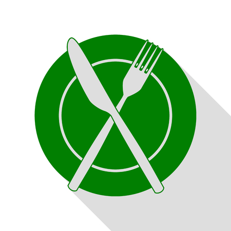 Fork, tape and Knife sign. Green icon with flat style shadow path. Illustration