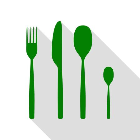 Fork spoon and knife sign. Green icon with flat style shadow path.