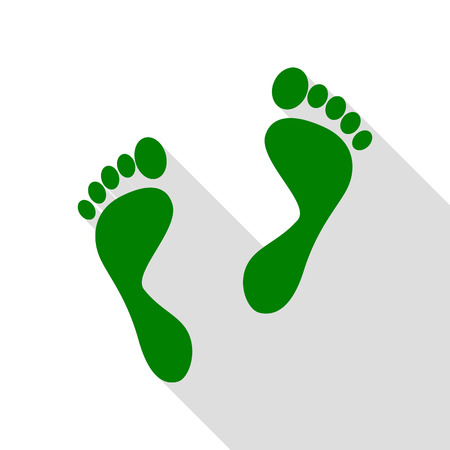 Foot prints sign. Green icon with flat style shadow path. Illustration