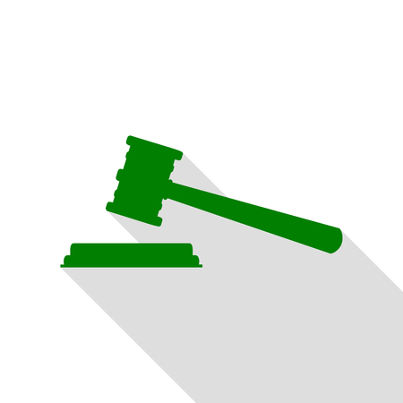 Justice hammer sign. Green icon with flat style shadow path.