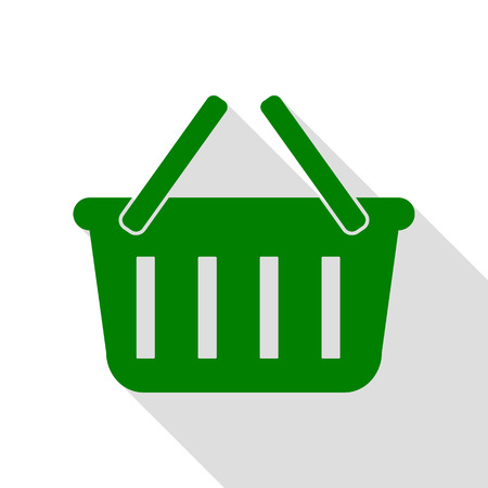 Shopping basket sign. Green icon with flat style shadow path.
