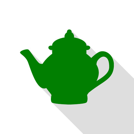 electric tea kettle: Tea maker sign. Green icon with flat style shadow path.