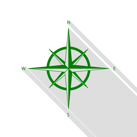 Wind rose sign. Green icon with flat style shadow path.
