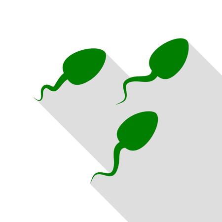 Esperma muestra la ilustración. Icono verde con la ruta de sombra de estilo plano.