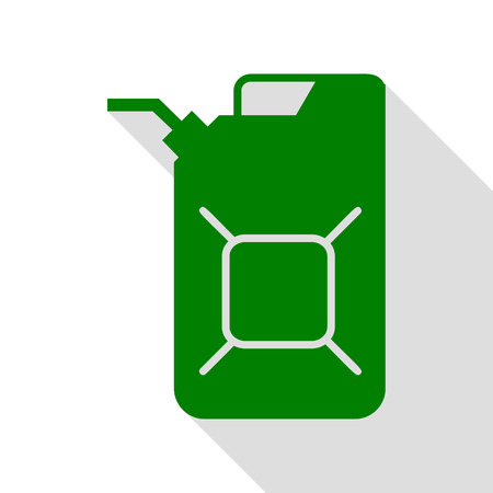 Jerrycan oil sign. Jerry can oil sign. Green icon with flat style shadow path.