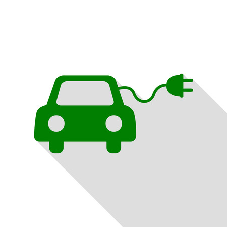 echnology: Eco electric car sign. Green icon with flat style shadow path.