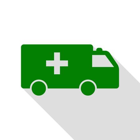 harm: Ambulance sign illustration. Green icon with flat style shadow path. Illustration
